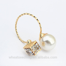 2015 wholesale new design pearl gold plated ring
