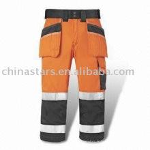 Orange Pantalon de sécurité à haute visibilité