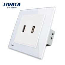 Livolo UK Стандартный двухканальный USB-штекер / розетка VL-W292USB-11