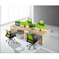 Green partition 4 person staff desk 01