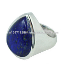 Lovely Lazuli Lapis Gemstone avec 925 Sterling Silver Pear Design Band Ring pour cadeau