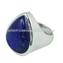 Lovely Lazuli Lapis Gemstone com 925 Sterling Silver Pear Design Band Ring para presente