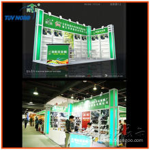 two walls trade show booth displays with L shape export to abroad made of slat wall and aluminum profile