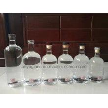 750ml 700ml Garrafas de Vidro Spirit Wine Spirit com Rolha de Cortiça Acabamento