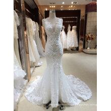 Sirena trompeta V cuello vestido de boda de muestra real