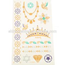 2015 new design fashion gold silver colorful body temporary metal tattoo sticker paper