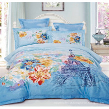 Paris Eiffel Tower Design Romântico 100% Algodão Bedclothes Duvet Cover Bedding Set