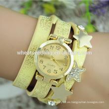 Personalizado brillante PU cuero mujeres pulsera tiempo relojes estrella caliente