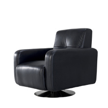 Metal Legs Black Leather Armchair Single Sofa