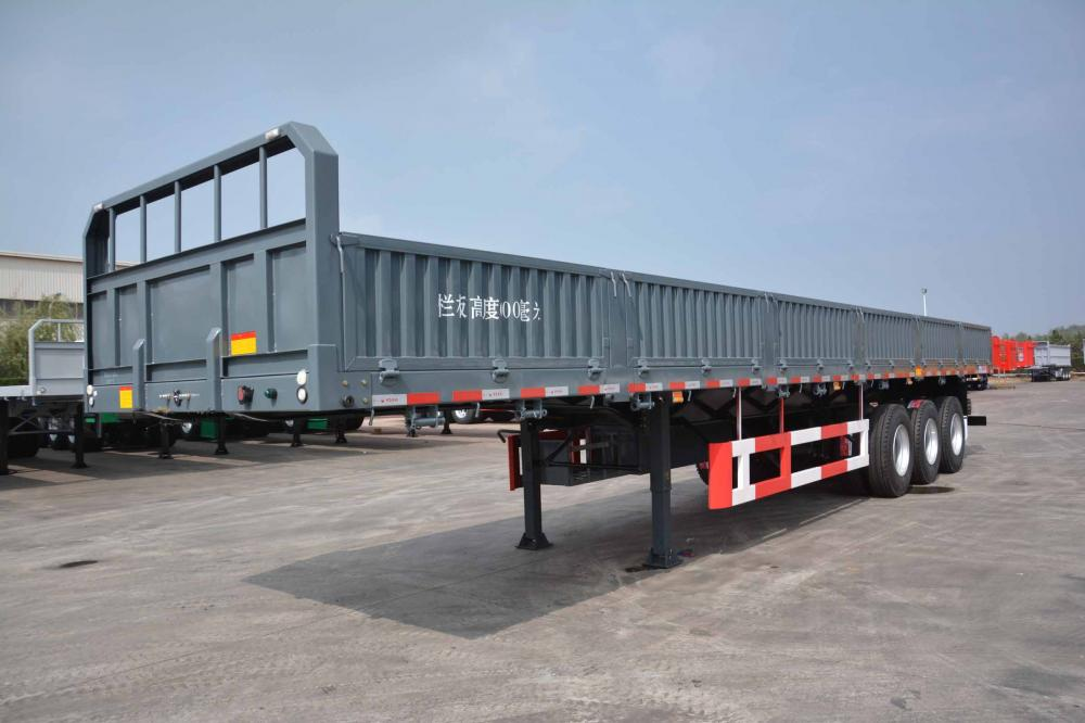 3 Axle Flatbed Semi Trailer Stake Cargo Container Trailer With Side Wall