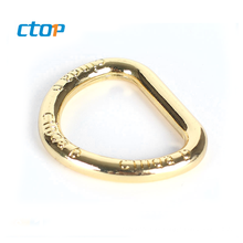 Wholesale high quality light gold color metal open d ring customize brand name aluminum d-ring for bags