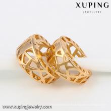91891 Xuping 18k plateó el pendiente del aro de la aleación de cobre sin el zircon