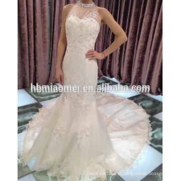 Atacado estilo coréia grande cauda flor floral cor branca frisada rendas vestido de noiva de luxo