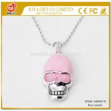 Großhandel natürliche Rose Quart Edelstein Schädel Anhänger Halskette 14SN0170 mit 60CM Silber Kette halb kostbare Stein Kristall Schmuck