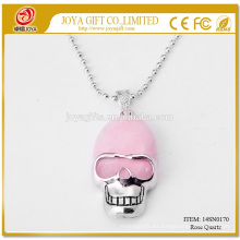 Venta al por mayor Natural Rose Quart Cráneo de piedras preciosas Collar 14SN0170 con cadena de plata 60CM Semi preciosas joyas de cristal de piedra