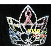 Corona de la tiara del estilo de la reina del cristal grande del desfile