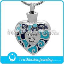 Immer in meinem Herzen Edelstahl Urne Hochwertigen Andenken Blauen Emaille Pet Ashes Anhänger Silber Feuerbestattung Halskette Großhandel