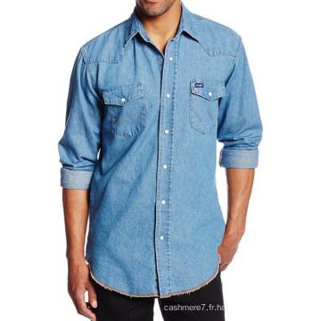 Mens Dress Basic Chemises Denim Fashion Casual Slim Fit Chemises