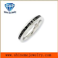 Shineme Schmuck 3mm Edelstahl schwarz Zirkon Ring