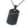 Barato 316l jóias de aço inoxidável iP azul e preto cão pingente para homens