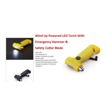 3 LED Wind Up Dynamo Torches With Emergency Hammer