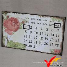 Antiguidade do metal de Luckywind e calendário Shabby da arte da parede