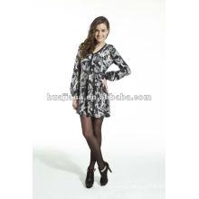 Elegant women's v neck Cashmere sweater dress