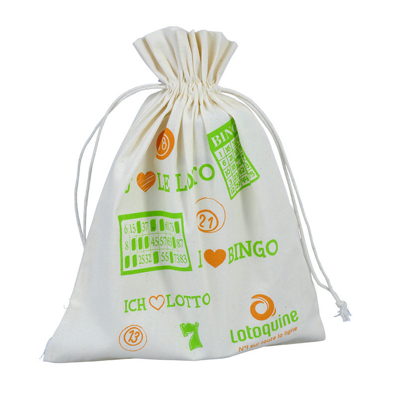 packaging cotton pouch with drawstring