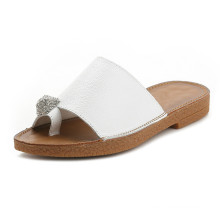 soft rubber sole material and genuine leather fashion girl slipper