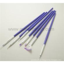 Private Label plástico Handle Paint Nail Brush Kits