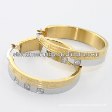 china manufacturer,2014 stainless steel hoop ring with crystal , fashion jewelry