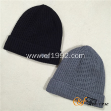 Men Custom Ribbed Knitted Pattern Beanie Hat with Fleece