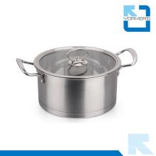 Potenciômetro de sopa de aço inoxidável de aço inoxidável 304 com duas alças