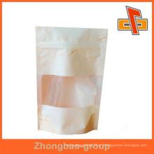 Papel de arroz de qualidade alimentar stand up bolsa / saco de papel de seda com janela e zíper