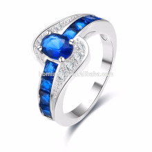 wholesale 2017 Summer Collection Pure 925 Sterling Silver Rings Blue Stone Sapphire Finger Ring Women Fine Jewelry
