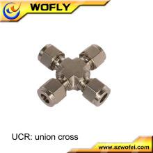 Compressão AFK-LOK Unio cross ss316L Conexão de 4 vias