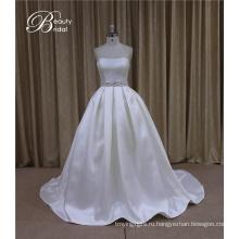 Атласная свадебное платье + Милая Алина