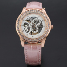 winner women watch with diamong setting skeleton design watch
