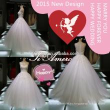 Alta calidad appliqued los vestidos de boda de la manera del cordón hechos en China / la nueva princesa de la manera considera a través de los vestidos elegantes de la boda 2015