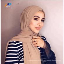 Lenço feminino muçulmano tingido de poliéster liso xale Hijab