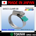 Aço inoxidável, braçadeira de segurança. Feito no Japão pela TOYOX. Longo tempo de vida e resistente a ferrugem (braçadeira da mangueira da porca)