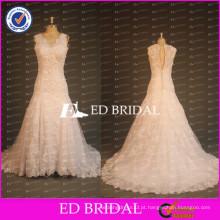 New Collection Custom Vintage Lace V Neck Sleeve Sleeve Uma linha Beaded Lace Appliqued Wedding Dresses 2017