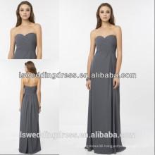 HC2231 Simple strapless sleeveless sweetheart neck ruffled top high waist A-line floor length long grey chiffon evening dress