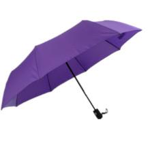 Paraguas de lluvia de publicidad de color púrpura con mango de goma clásico abierto automático 3 veces