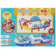 Plastic Cartoon Eduction Toy Train Electric Blocks Vehicle Toy