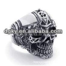 Vintage estilo crânio anéis de aço cirúrgico com forma gravada para os homens