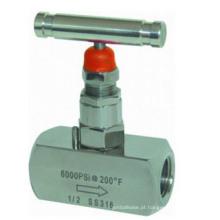 Válvula de agulha de alta pressão parafusada de aço inoxidável