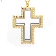 Kreuz Medaillon Anhänger in Gold Schmuck, Fee Tür Medaillon Anhänger, offene Kreuz Medaillon