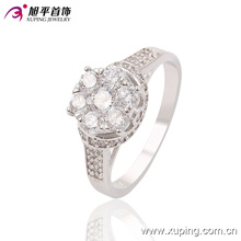 New Arrival Fashion CZ Diamond Women Jewelry Finger Ring in Rhodium-Plated Color - 13639