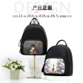 Cute pretty girl casual black backpack